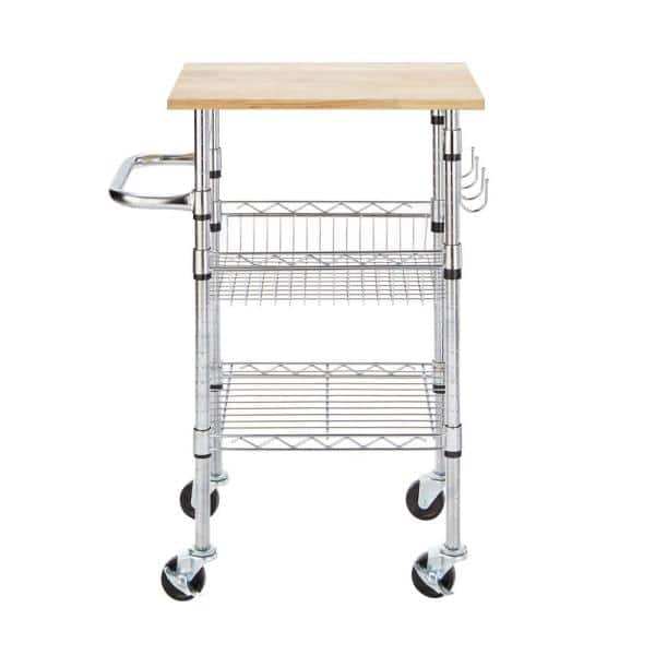 Gatefield Small Kitchen Cart with Rubber Wood Top $38.48 ...