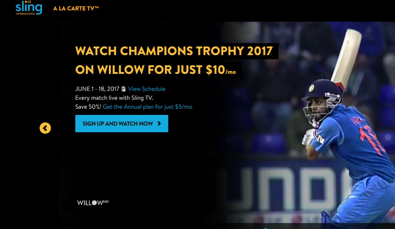 Sling tv willow cricket channel offer $5/mo with annual subscription ($60). save 50% limited time