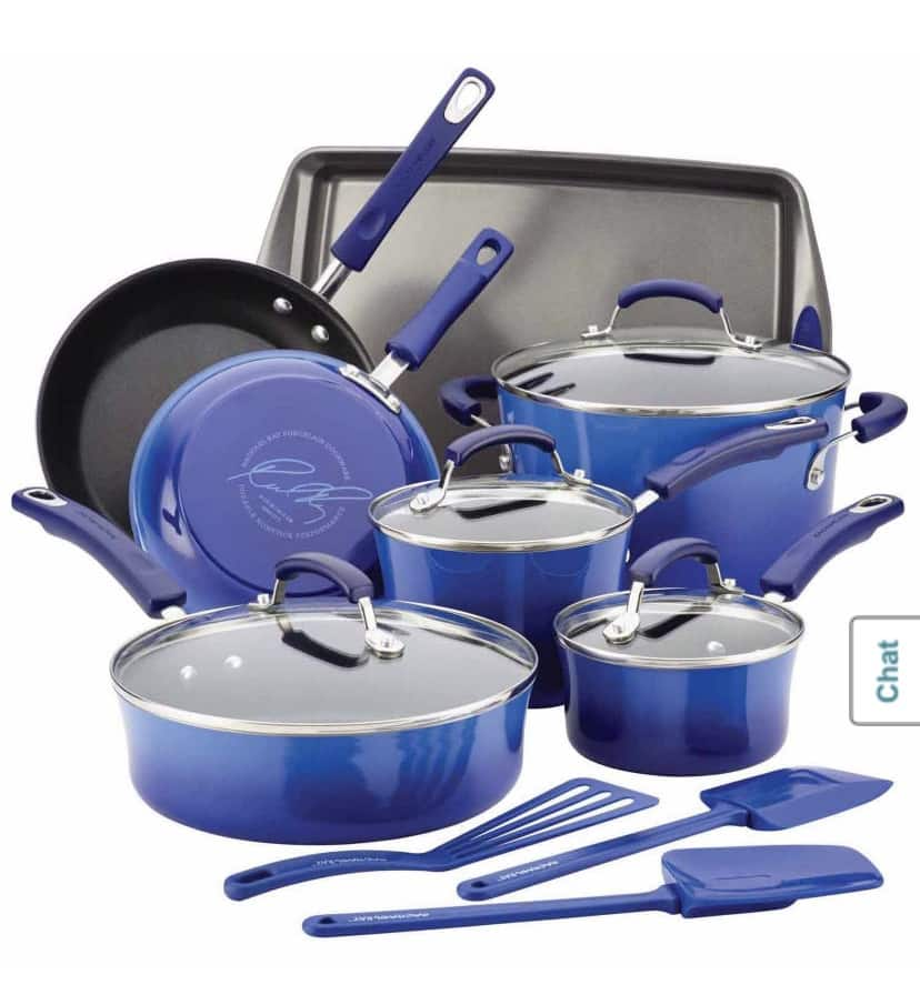 Rachael Ray® Classic Brights Collection Porcelain 14-pc. Aluminum Nonstick Cookware Set