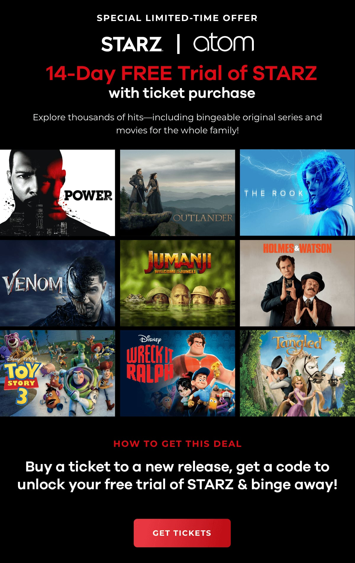 Free 14 day Trial to STARZ with new release ticket purchase on Atom Tickets