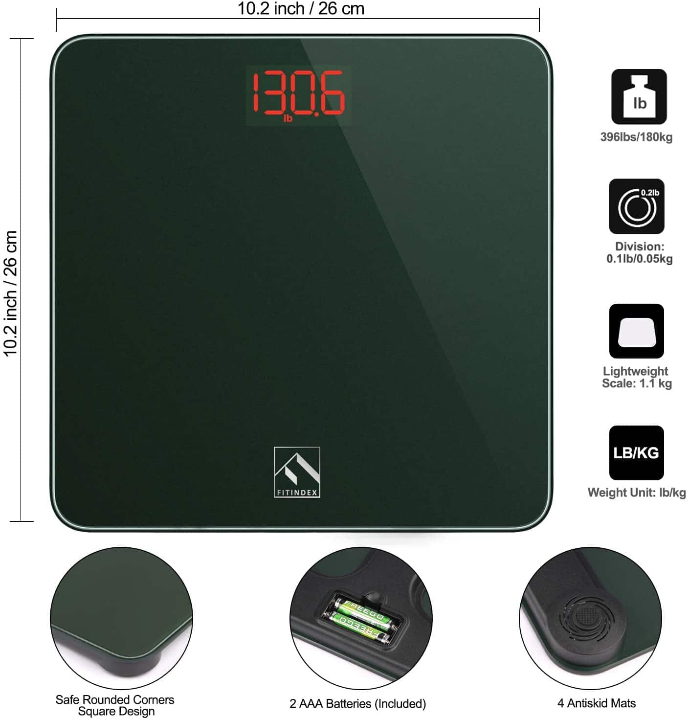FITINDEX Smart Digital Body Weight Scale - Works with Apple Health, Samsung Health and Google Fit - Prime Price - $13.51
