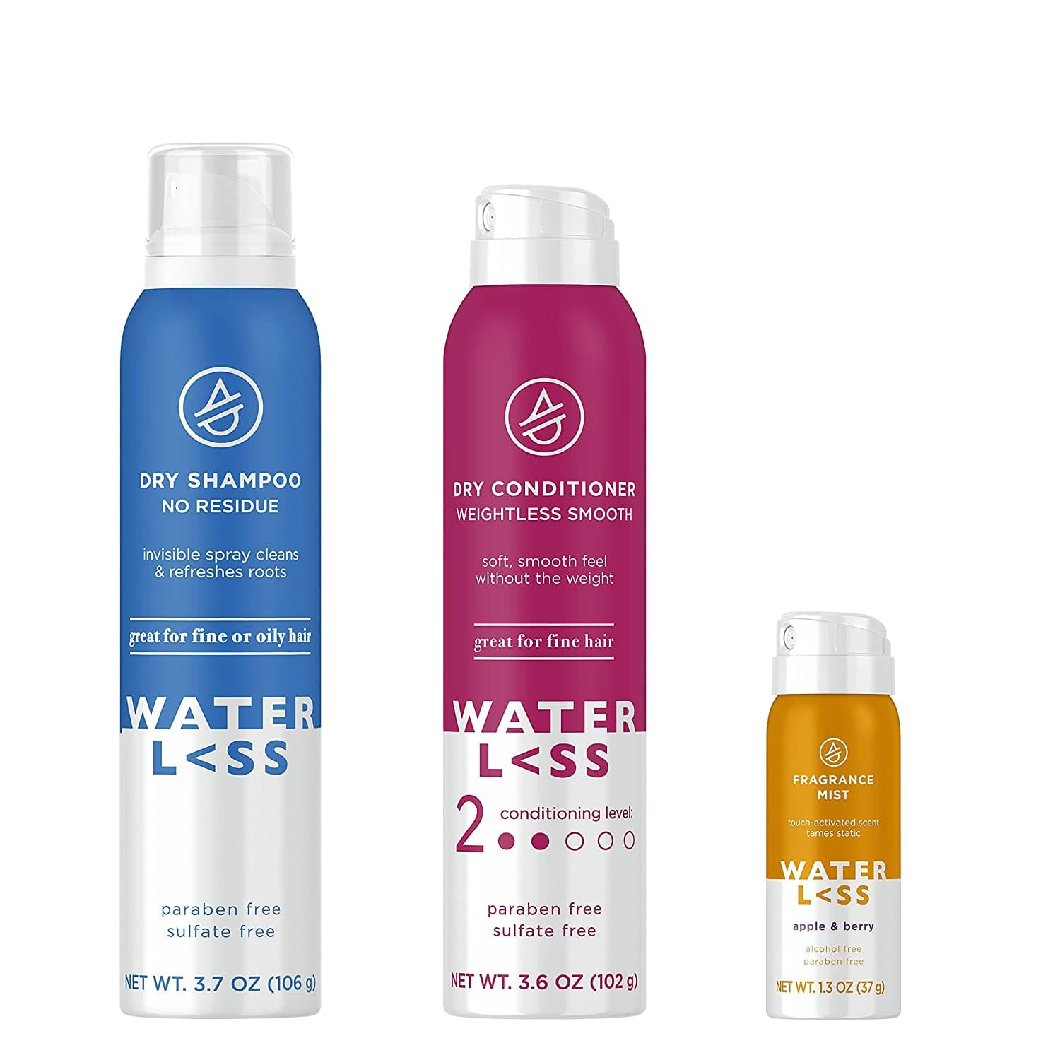 Amazon: Waterless Bundle Pack with Dry Shampoo Spray, Dry Conditioner and Fragrance Mist, Apple & Berry Scent $19.43 & MORE