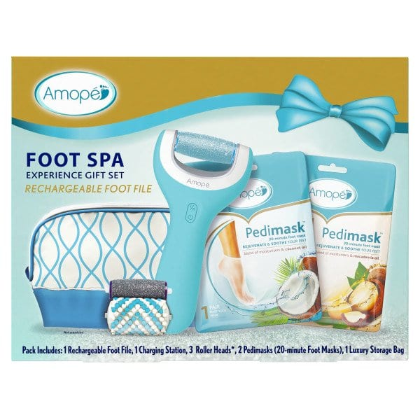 Walmart: Amope Pedi Perfect Foot Spa Experience Kit - 1 Rechargeable Foot File, 1 Charging Station, 3 Roller Heads, 2 Pedimasks, 1 Storage Bag $34.99