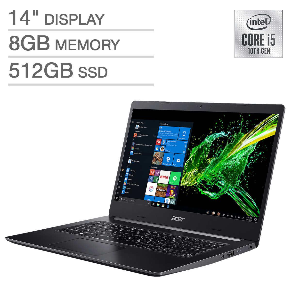 """Acer Aspire 5 14"""" Laptop - 10th Gen Intel Core i5-10210U - IPS 1080p - 8GB RAM - 512GB SSD - WiFi 6  $599.99"""