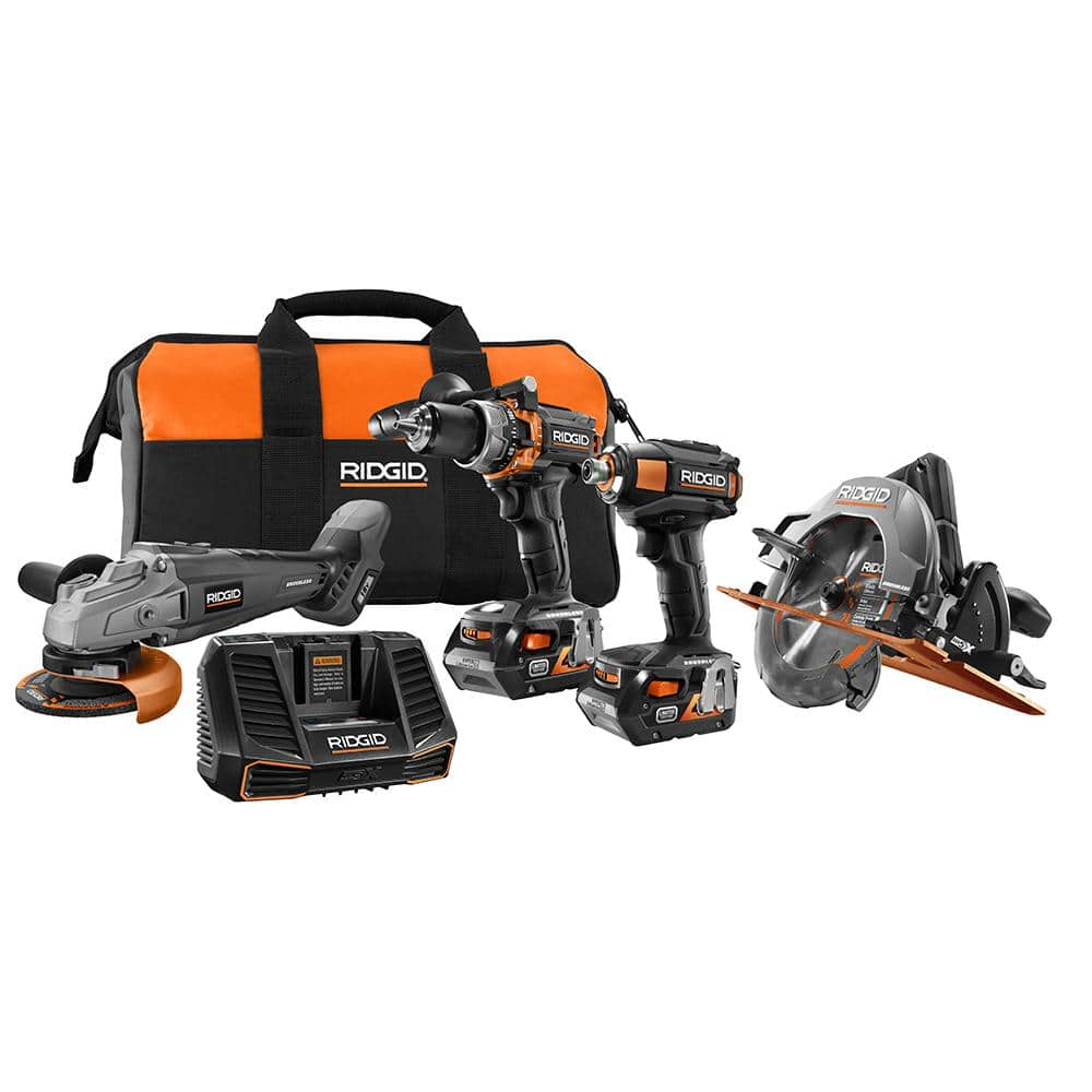 Rigid 18-Volt Lithium-Ion Cordless Brushless Limited Edition 4-Tool Combo Kit with (2) 4.0Ah Batteries, Charger and Bag - $299 (Back to BF price)