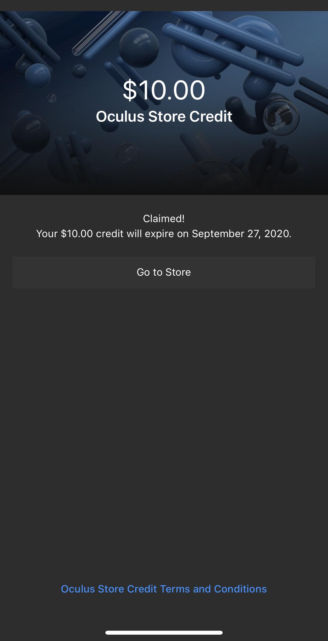 YMMV oculus store $10 credit exp 9/27