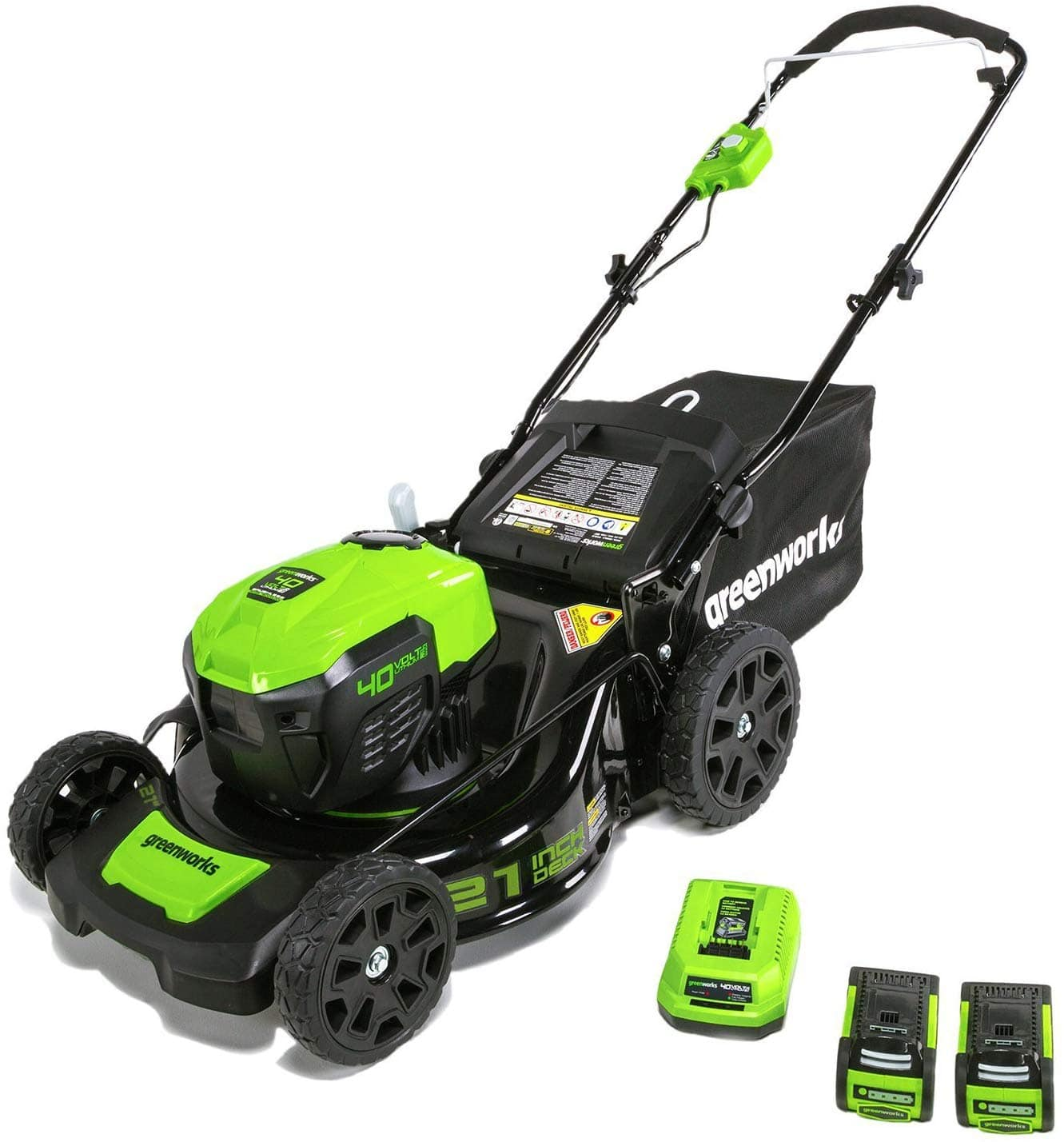 50% Off - Greenworks MO40L2512 21-Inch 40V Brushless Cordless Mower, Charger and Two 2.5 Ah Batteries Included $199.99