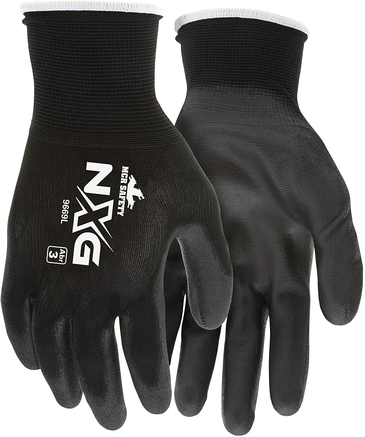 $1.74, MCR Safety 9669L Nylon Knitted Shell MCR Safetys with Black PU Dipped Palm and Fingers, Black, Large, 1-Pair - Work Gloves - Amazon.com