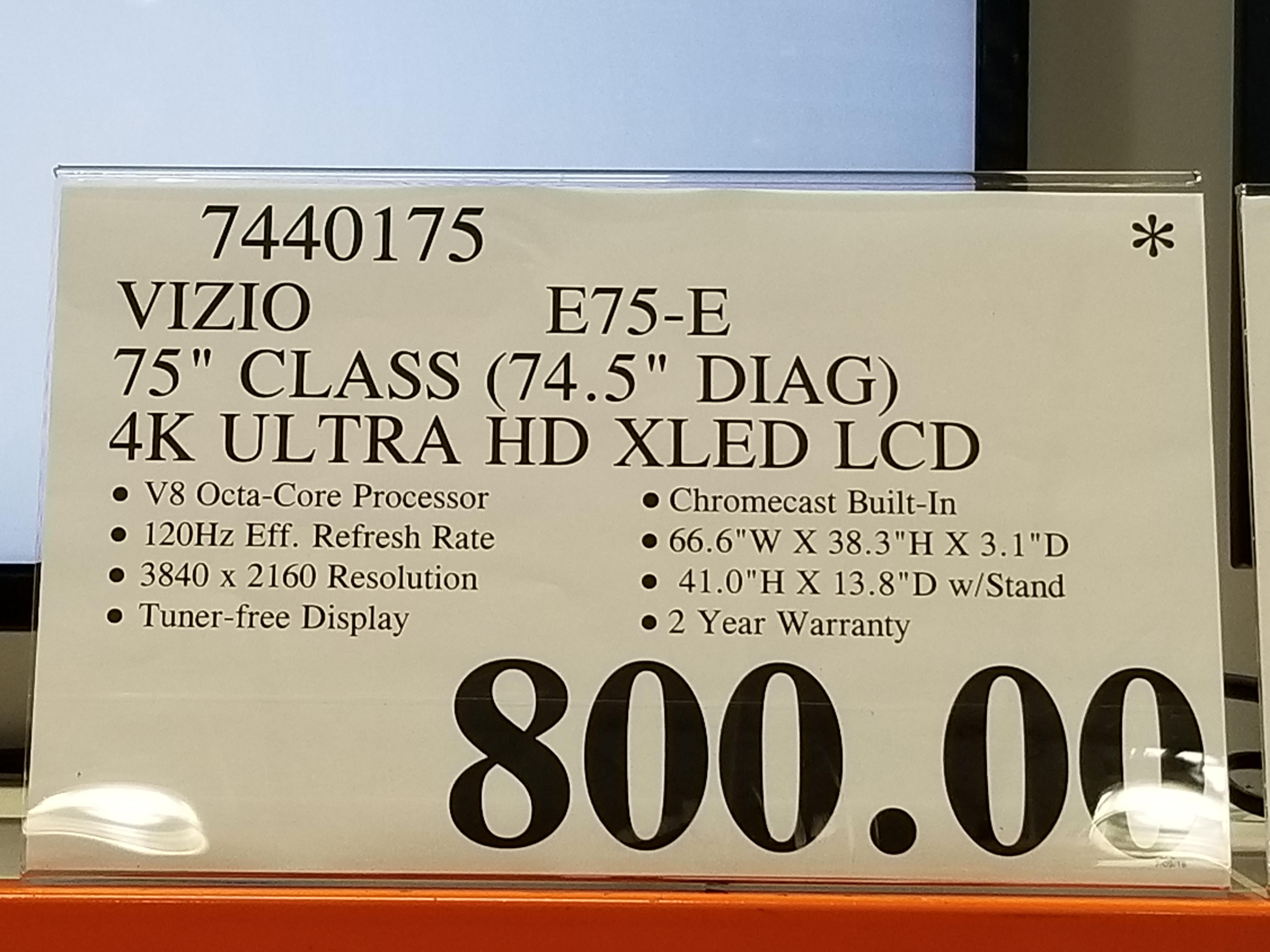 """Costco Vizio 75"""" 4K LCD TV E75-E $800 &  M75-E1 $900 YMMV"""