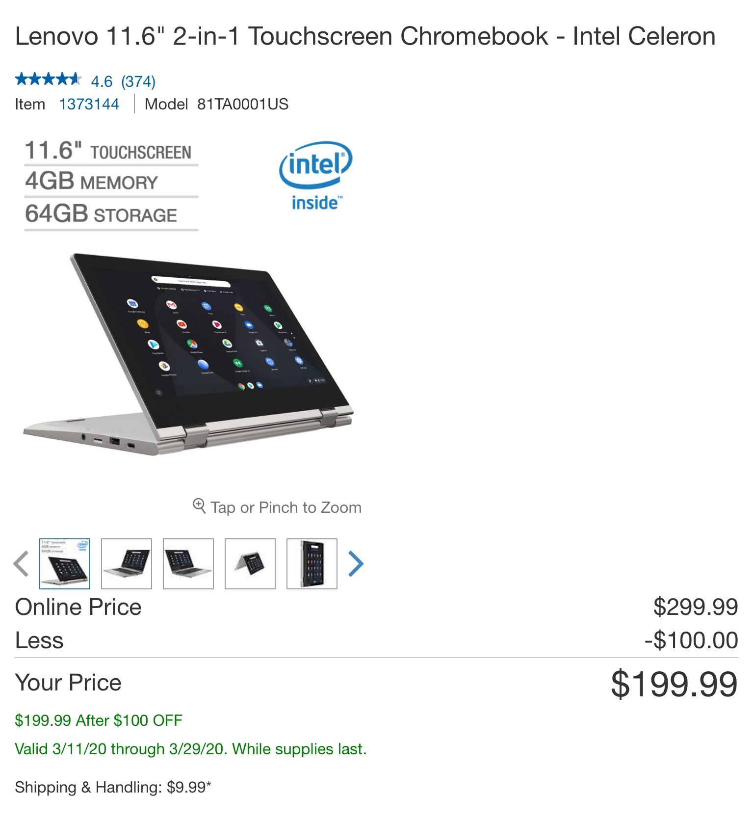 "Costco - Lenovo 11.6"" 2-in-1 Touchscreen Chromebook - Intel Celeron $199.99"