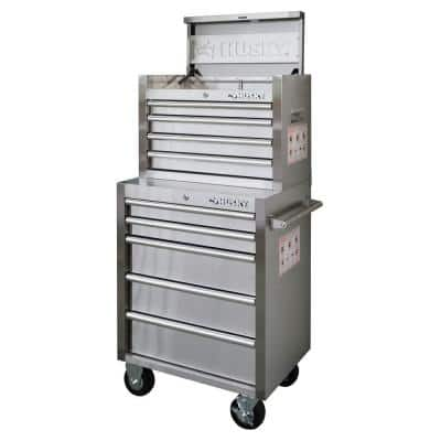 Husky 26 in. 9-Drawer Stainless Steel Tool Chest and Cabinet Set - $219
