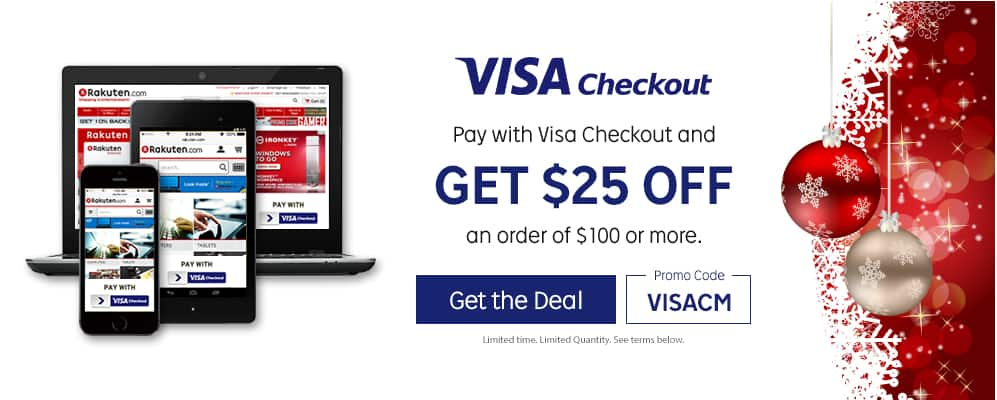 Get $25 off $100 with Visa Checkout AC @ Rakuten.com