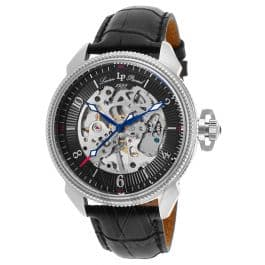 Lucien Piccard Trevi Automatic (Skeleton Dial) Black Leather Men's Watch for $59.99 a/c