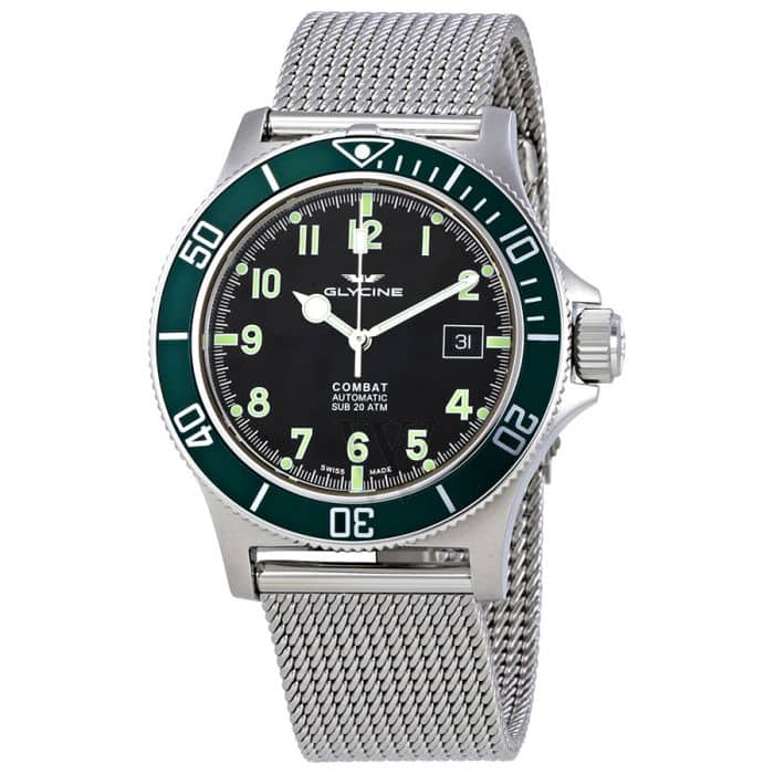 Glycine Men's Combat Sub Stainless Steel Mesh Black Dial for $439.99