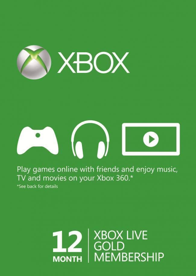Xbox Live Gold 12 Month $32.90 free ship