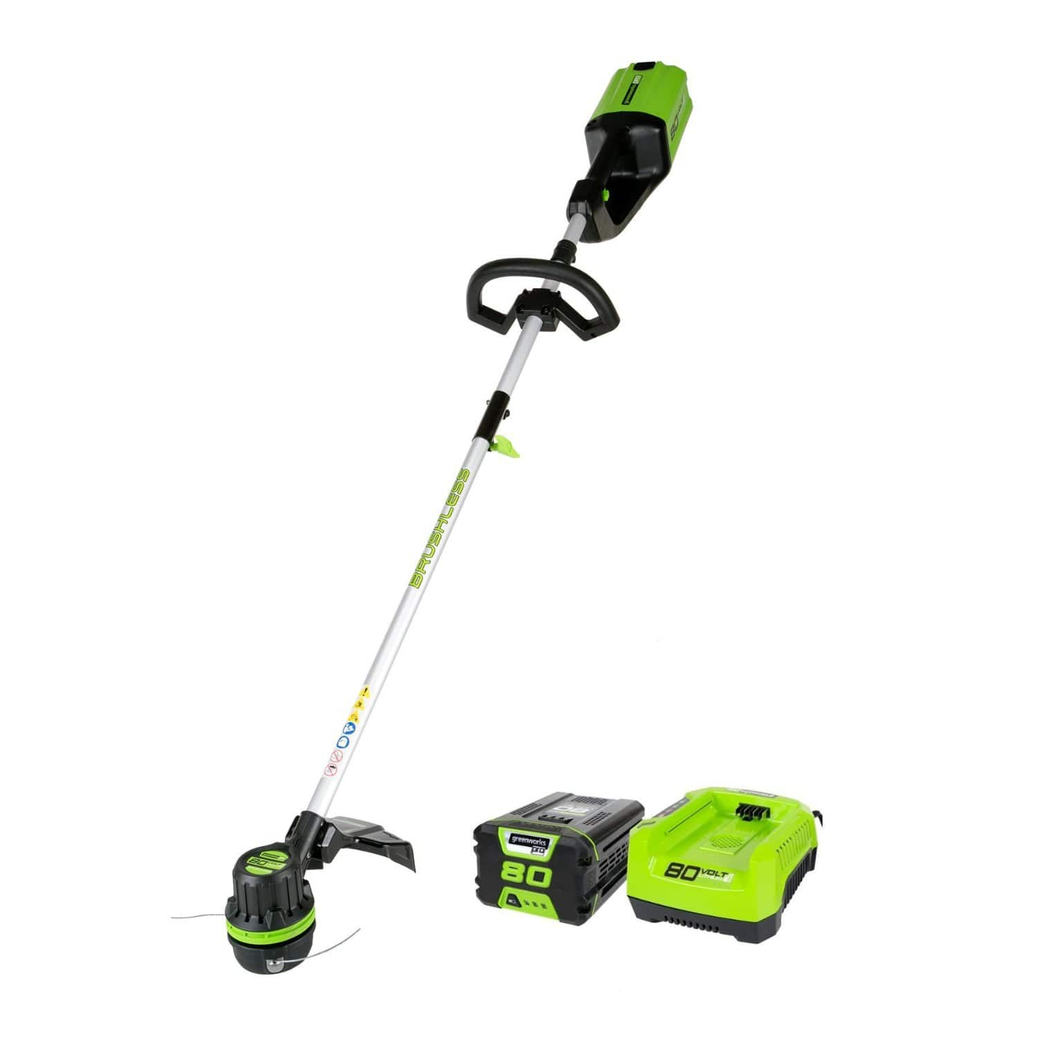 $81 GreenWorks Pro ST80L210 80V 16-Inch Cordless String Trimmer, 2Ah Battery and Charger Included