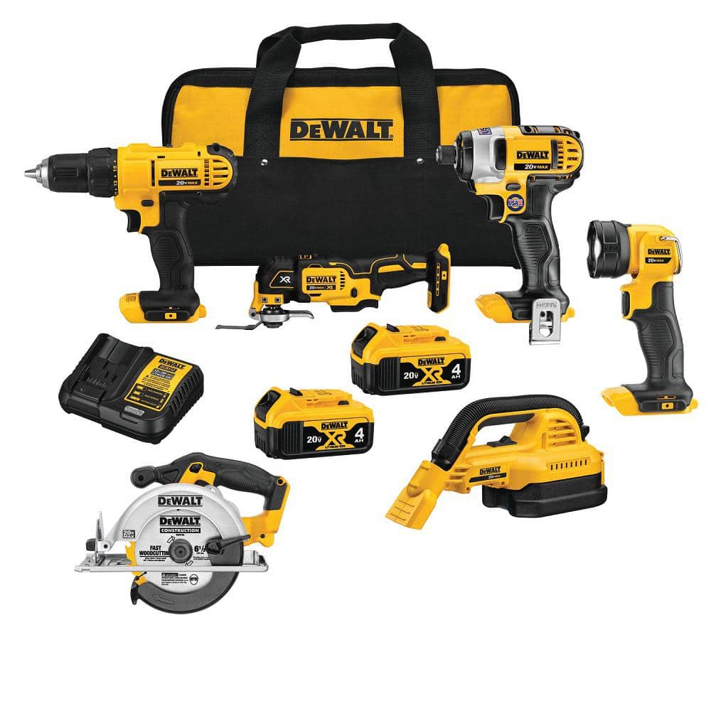 Dewalt 20-Volt MAX Lithium-Ion Cordless Combo Kit (6-Tool), (2) 4 Ah Batteries, Charger, and Tool Bag $299