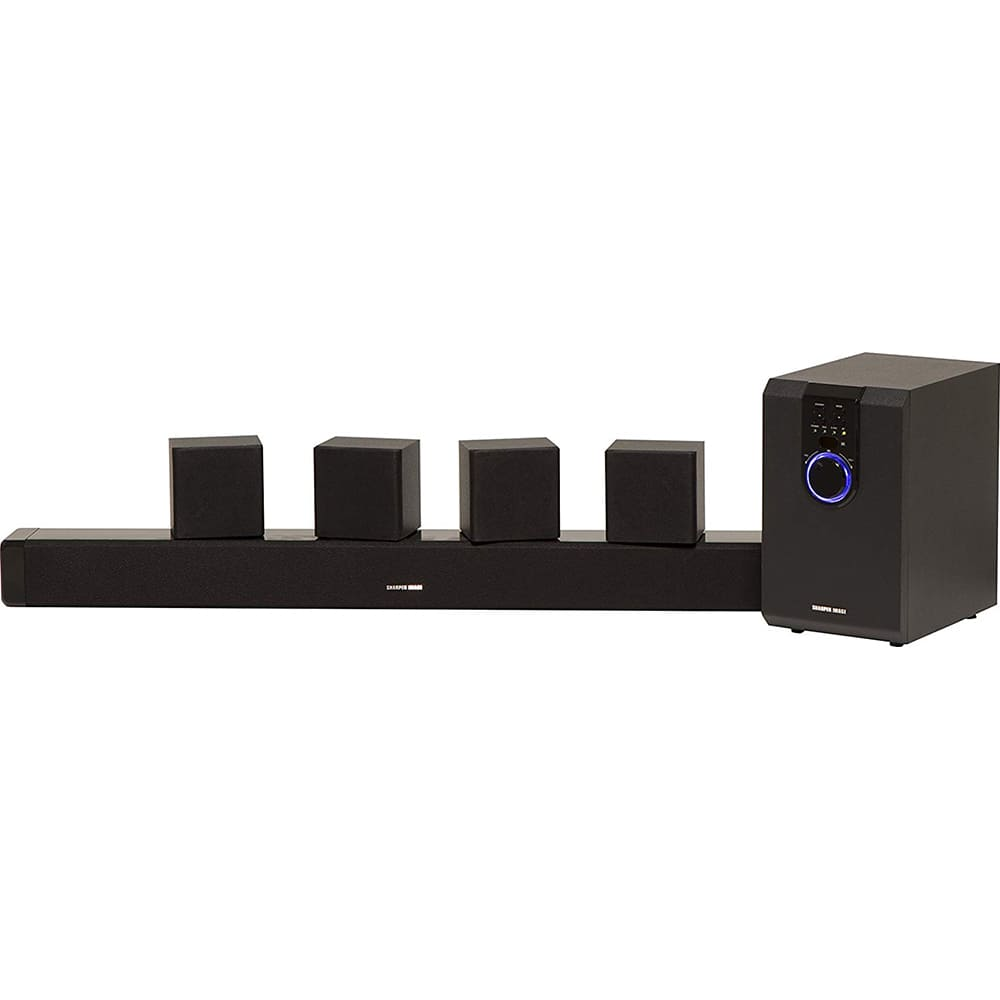 Sharper Image 5.1 Home Theater System With Subwoofer, Sound Bar & Satellite Speakers $47
