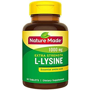 60-Ct Nature Made Extra Strength L-Lysine 1000 mg Amino Acid