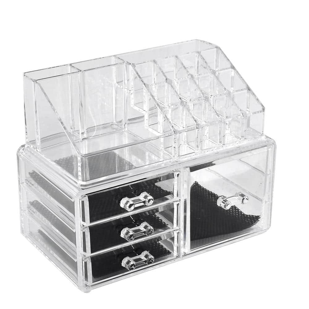 Unique Bargains Home Acrylic Jewelry Makeup Dressing Case Organizer Display Box Set 2 in 1 - $7.58 @kmart