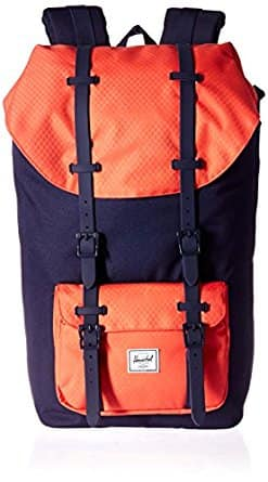 Herschel Little America Backpack Coral in Peacoat/Hot Coral $48