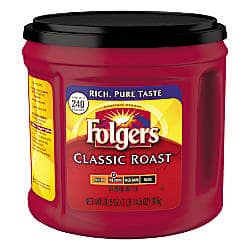 Folgers® Classic Roast or Black Silk Coffee, $5.39 shipped with subscription, Office Depot. (can pay with rewards)