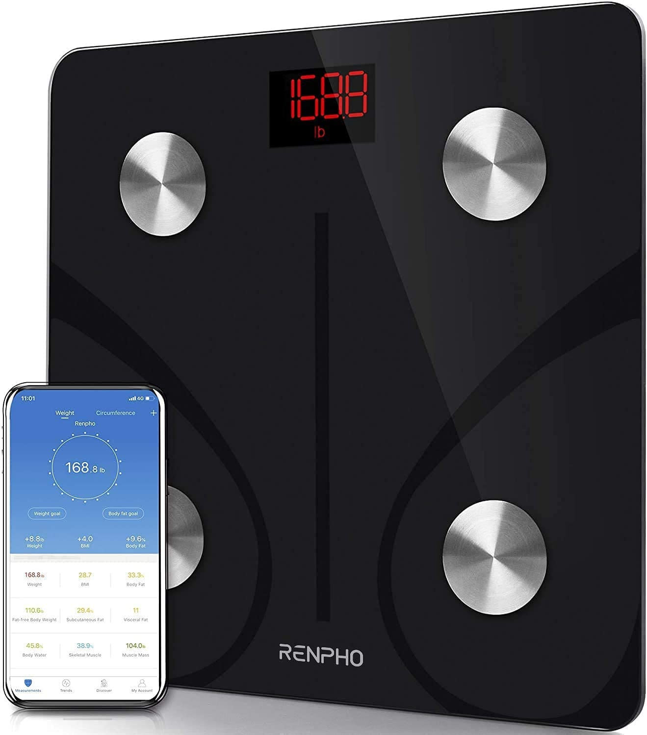Renpho BMI Smart Digital Weight Scale w/ Smartphone App Sync App $16.99 + Free Shipping w/ Prime or on $25+
