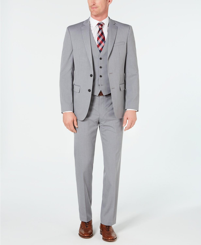 3-Piece Van Heusen Men's Slim-Fit Flex Stretch Wrinkle-Resistant Stripe Vested Suit (light grey) $80 & More + Free Shipping