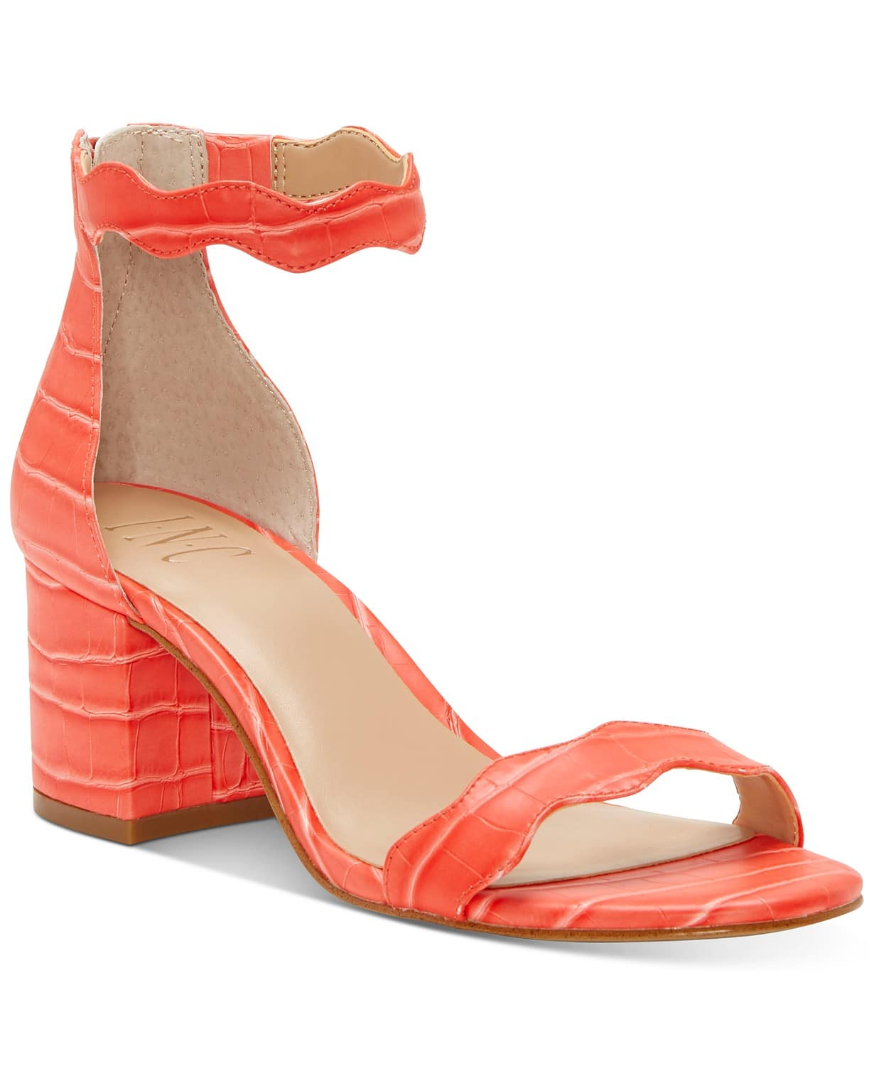 INC Women's Hadwin Scallop Two-Piece Sandals (coral croc, natural snake) $14.96 + Free Ship to Store for Pickup or F/S on $25+
