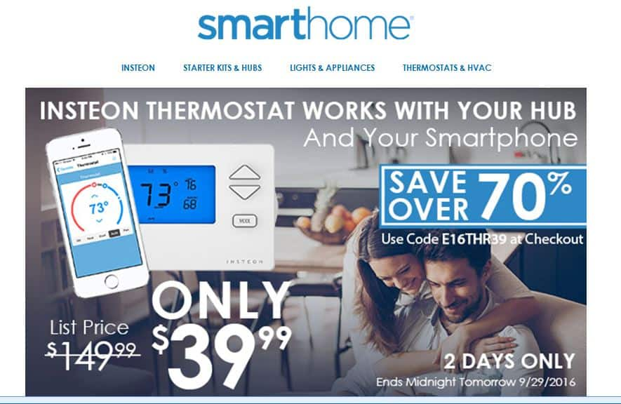 Insteon Thermostat 2441TH  Smarthome.com thru 9/29,  $39+shipping