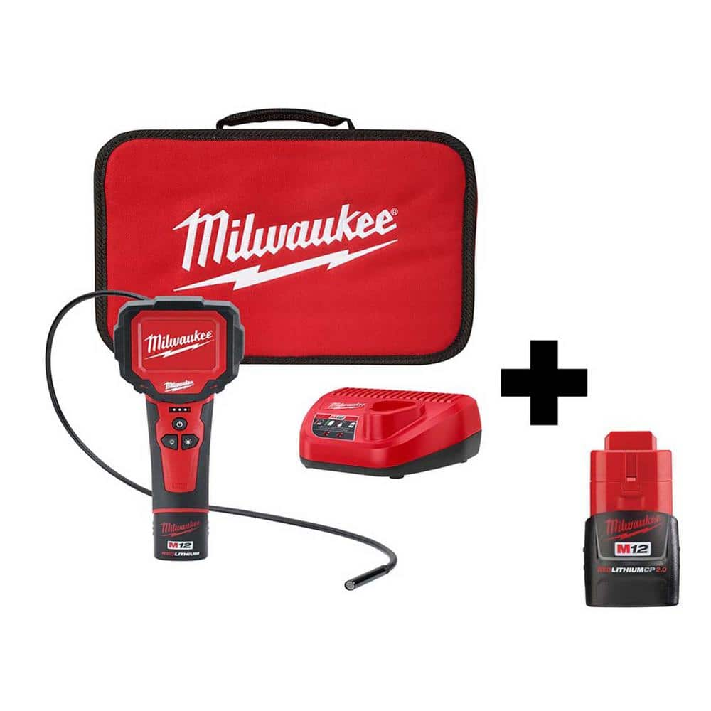 $129.99 Milwaukee M12 M-Spector 360° Digital Inspection Camera Kit with Free M12 2Ah Compact Battery