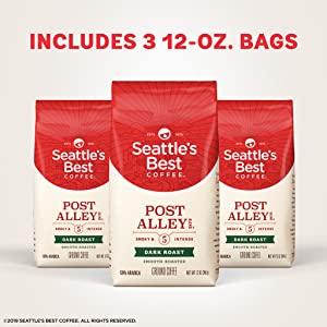 Seattle's Best Coffee Post Alley Blend Dark Roast Ground Coffee 3 Pack, Three 12-oz. Bags [*New! Post Alley] $11.1
