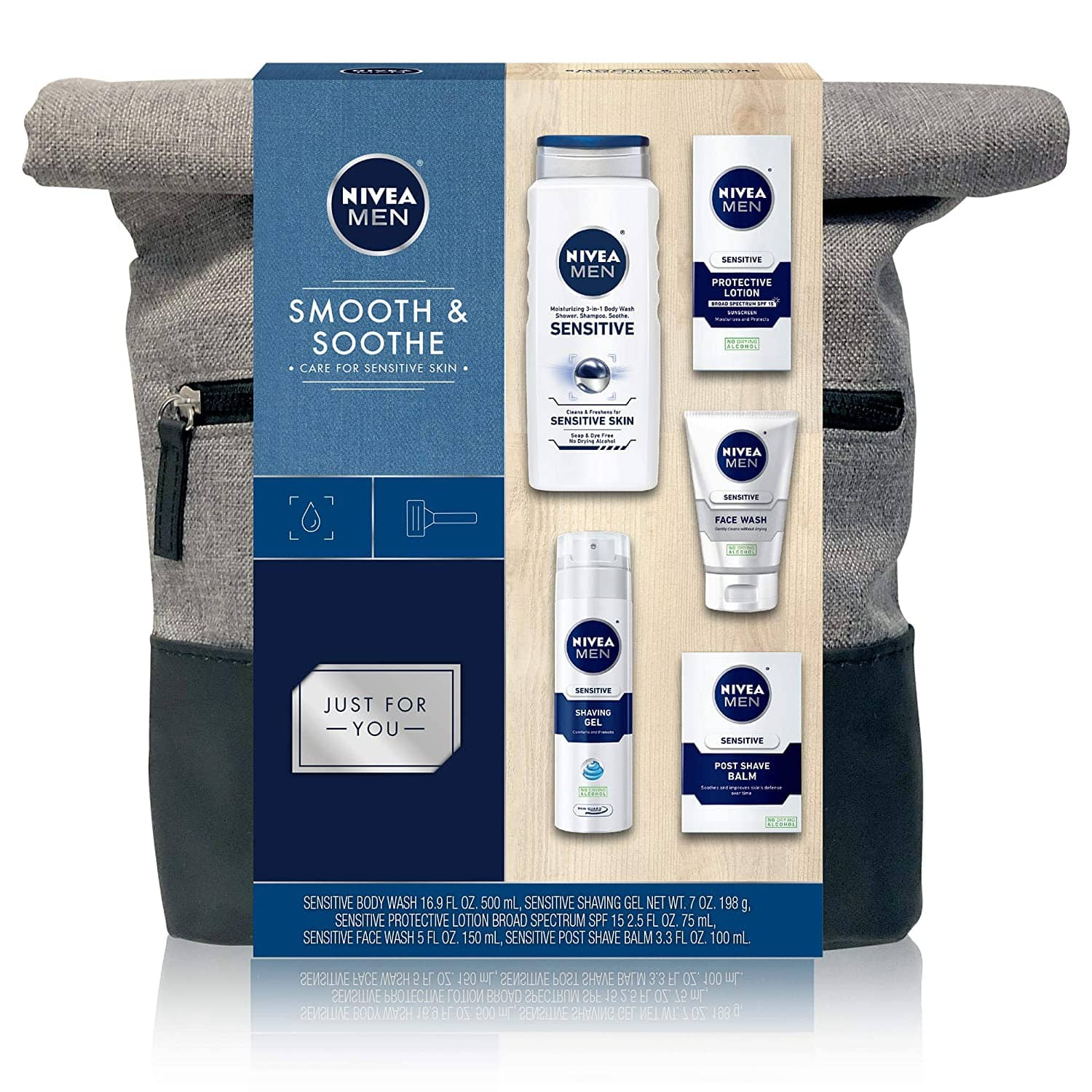 NIVEA Men Dapper Duffel Gift Set - 5 Piece Collection Of On-The-Go Grooming Needs with Travel Bag Included $13.32