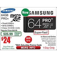 Frys Deal: 64GB Samsung PRO+ microSD Card - $25 at Fry's after saturday promo code