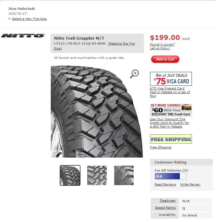 Discount Tire Cardholder: 4x Nitto Trail Grappler M/T Tires