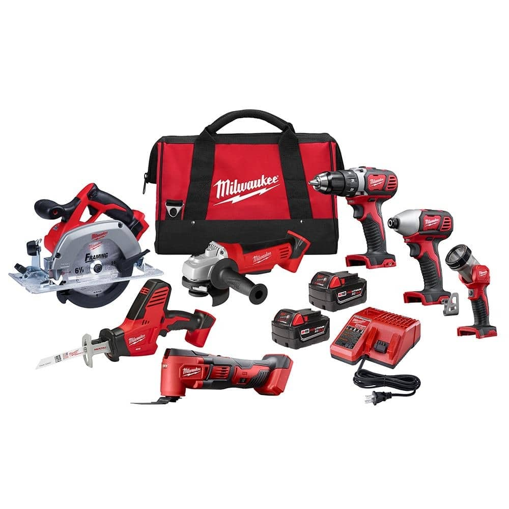 Milwaukee M18 18-Volt Lithium-Ion Cordless Combo Tool Kit (7-Tool) with Two 3.0 Ah Batteries, Charger and Tool Bag-2695-27S - $499