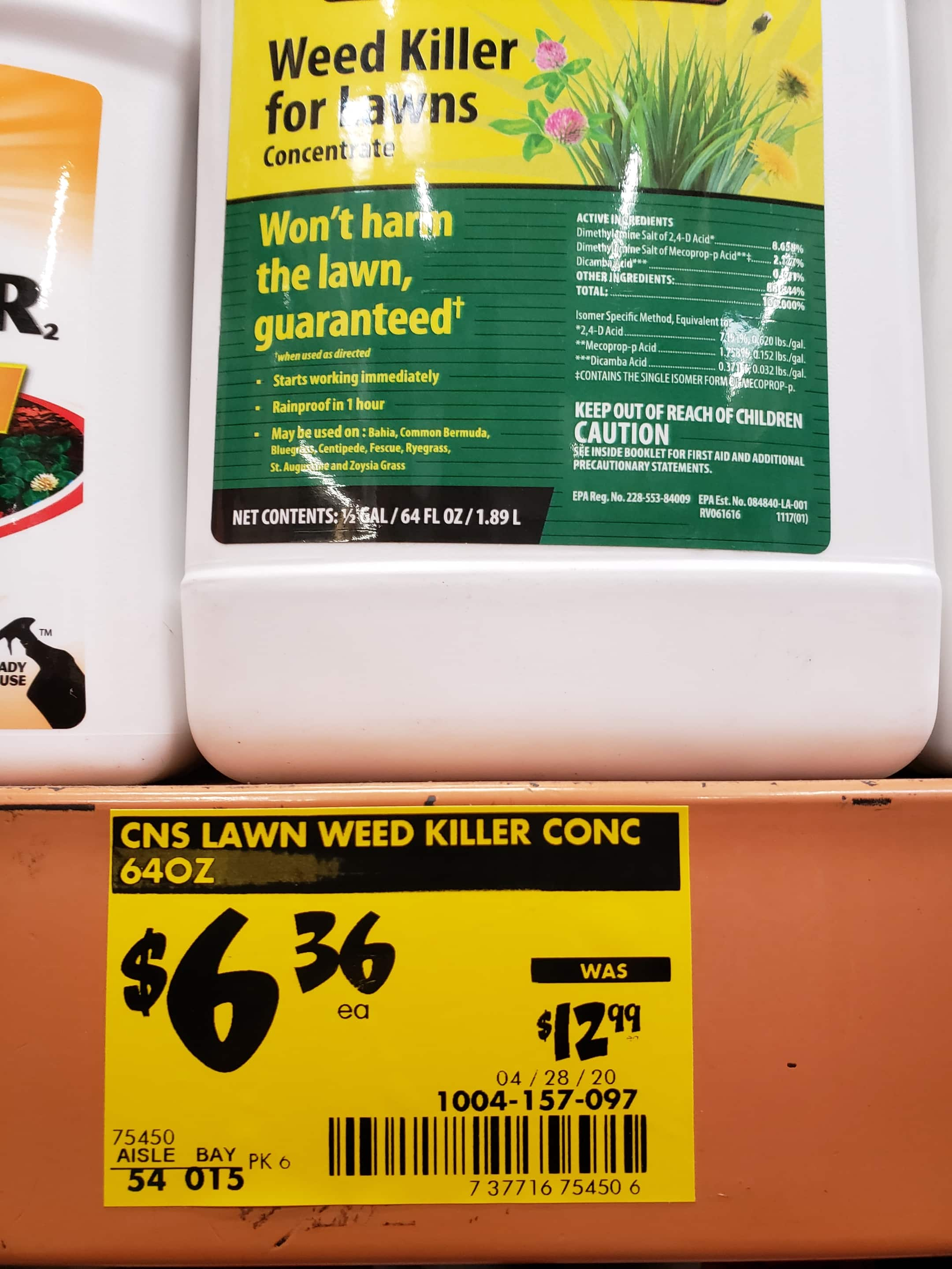 YMMV *B&M ONLY* Compare-N-Save-64-oz-Weed-Killer-for-Lawns-Concentrate-Liquid-Herbicide for $6.36