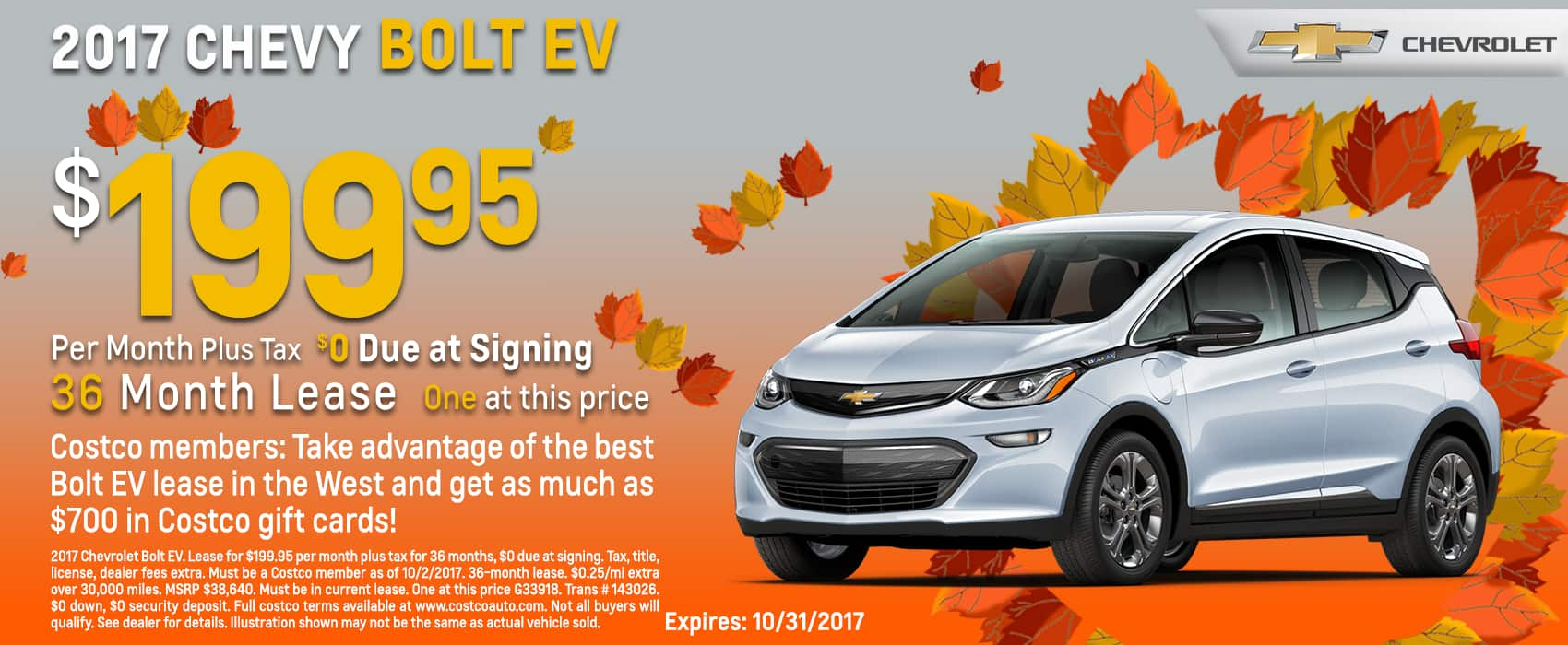 Chevrolet Lease Deals >> 2017 Chevy Bolt Ev North Cal Lease 10k 36 Mo 200 Per