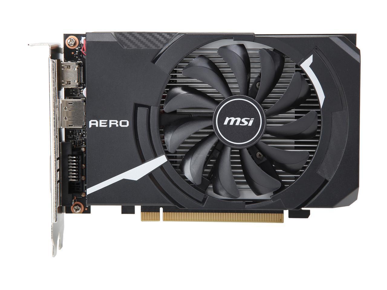 MSI GeForce GTX 1650 DirectX 12 GTX 1650 AERO ITX 4G OC 4GB 128-Bit GDDR5 PCI Express 3.0 x16 HDCP Ready Video Card $129.99 AR & AC
