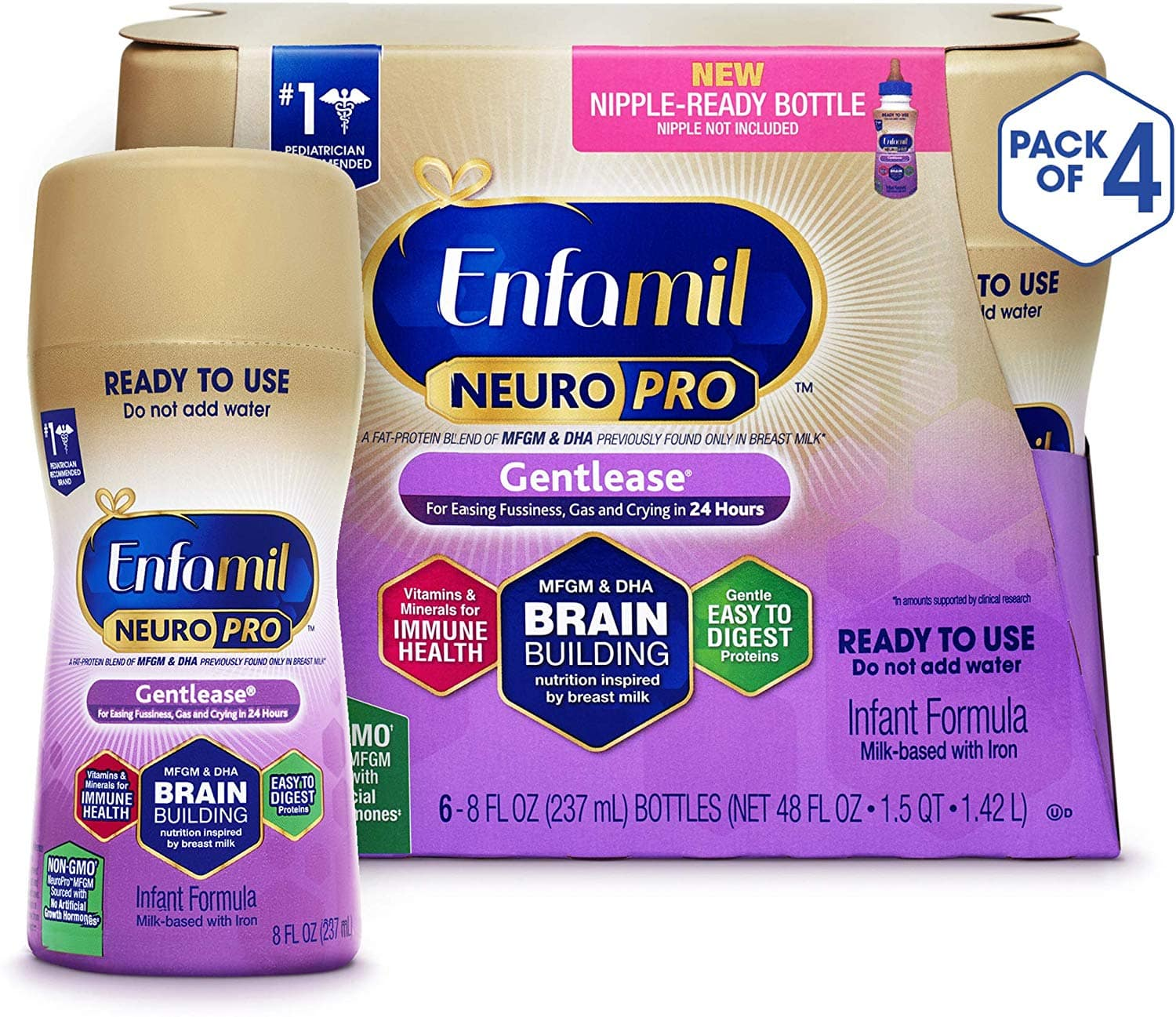 Enfamil Neuropro Gentlease Ready To Feed Baby formula milk, Mfgm, Omega 3 Dha, Probiotics, Iron & Immune Support, 6 Count per pack, 8 Fl Oz, Pack of 4 $56.19 +free s/h