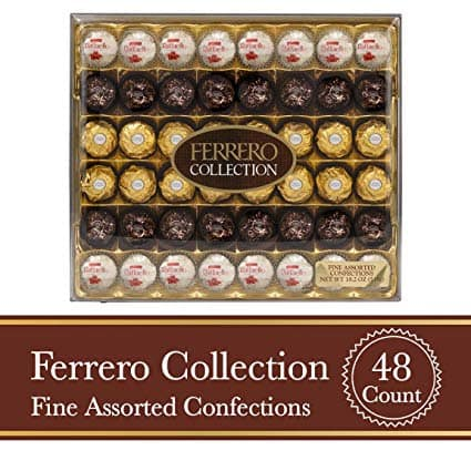 Ferrero Rocher Fine Hazelnut Milk Chocolate and Coconut Confections, 48 Count, Assorted Chocolate Candy Collection Gift Box $15.09 + free s/h