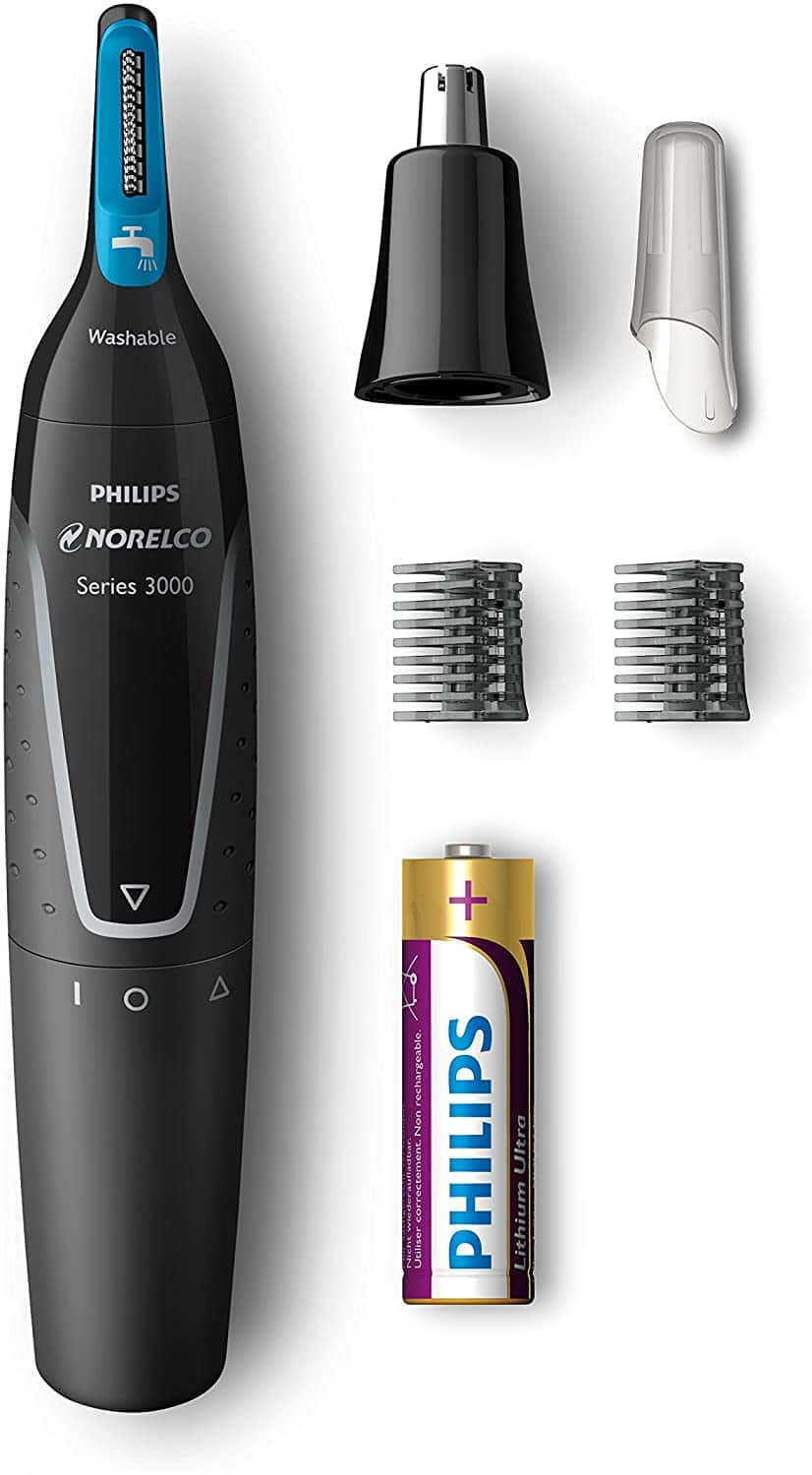 Philips Norelco Nose trimmer 3000, NT3000/49, with 6 pieces for nose, ears and eyebrows $6.99