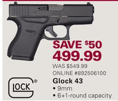 Gander Mountain Black Friday: Glock 43 9mm for $499.99