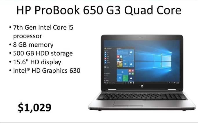 HP Weekly Ad: HP ProBook 650 G3 QC for $1,029.00