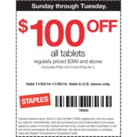 Staples Deal: Staples AD 11/23-11/26 - 20% off everything in Bag and $100 off Tablets $399 & Computers $499