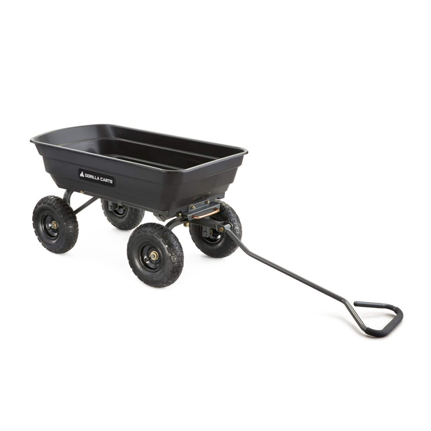 Gorilla Carts GOR4PS Poly Garden Dump Cart with Steel Frame and 10-in. Pneumatic Tires, 600-Pound Capacity, Black - $79.99