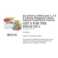 Michaels Deal: Michaels Craft stores: 67% off ALL canvas sizes