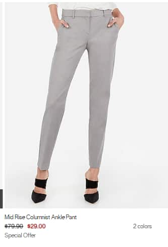 Express: Womens Dress Pants $29. Select Styles | Expires on 1/22