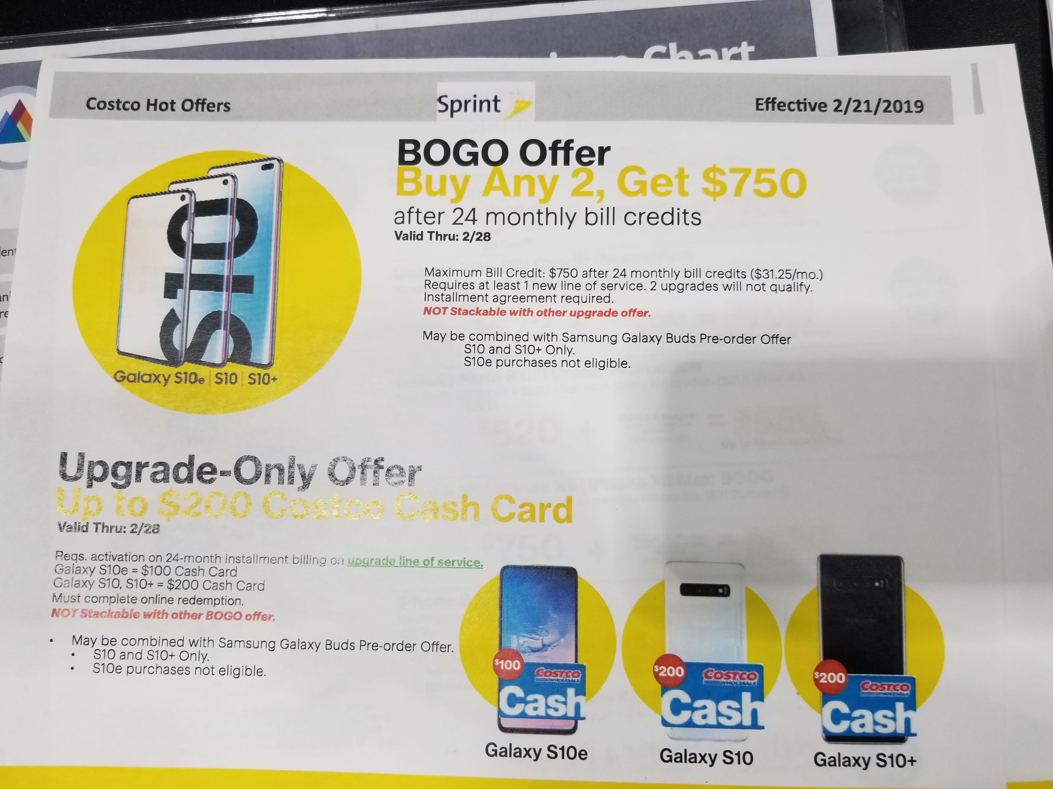 7b26c787051 Sprint Samsung Galaxy S10 & S10+, Costco $200 GC & free wireless .