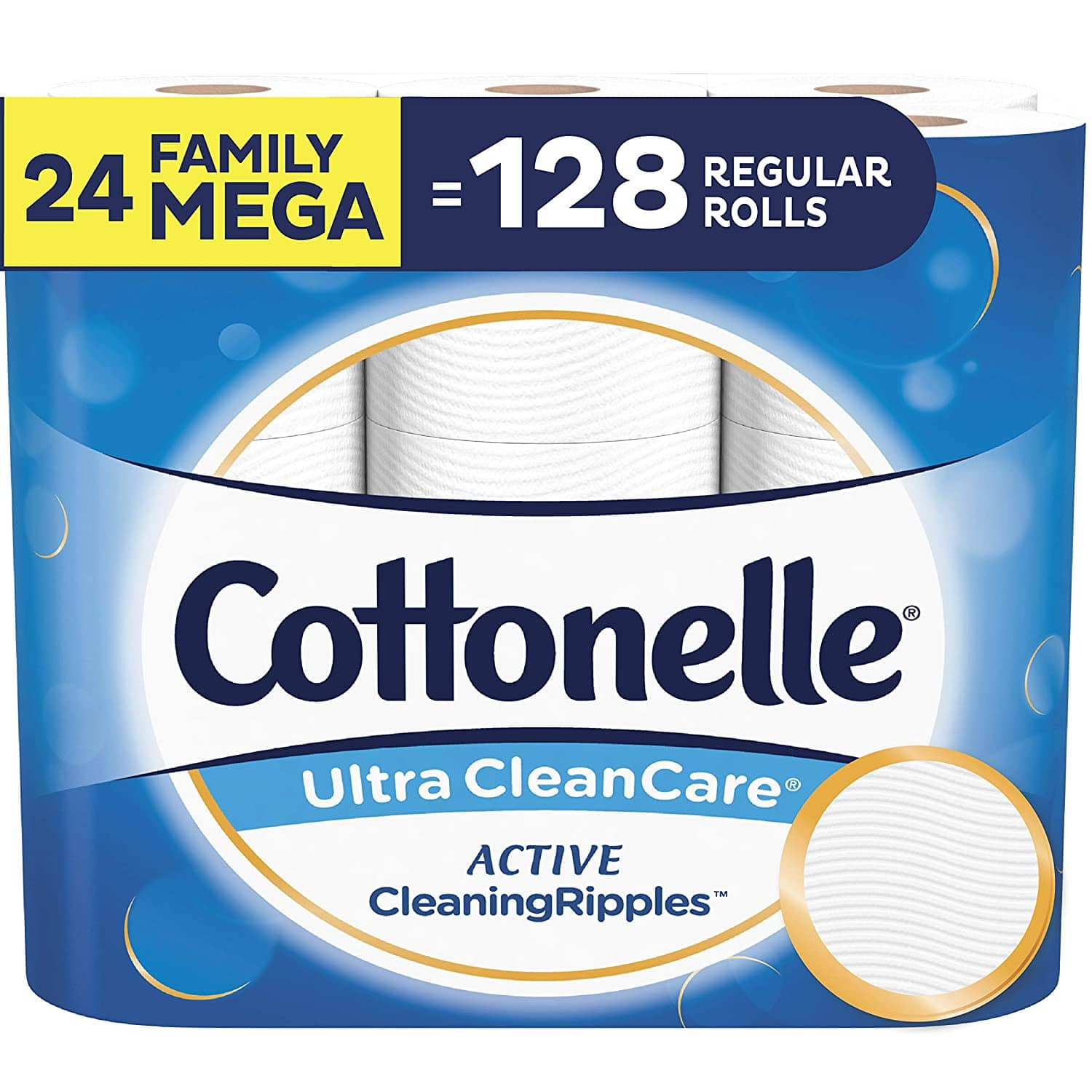 Cottonelle Ultra CleanCare Soft Toilet Paper with Active CleaningRipples, 24 Family Mega Rolls $25